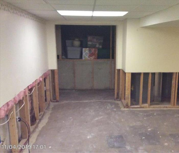 basement with cut drywall
