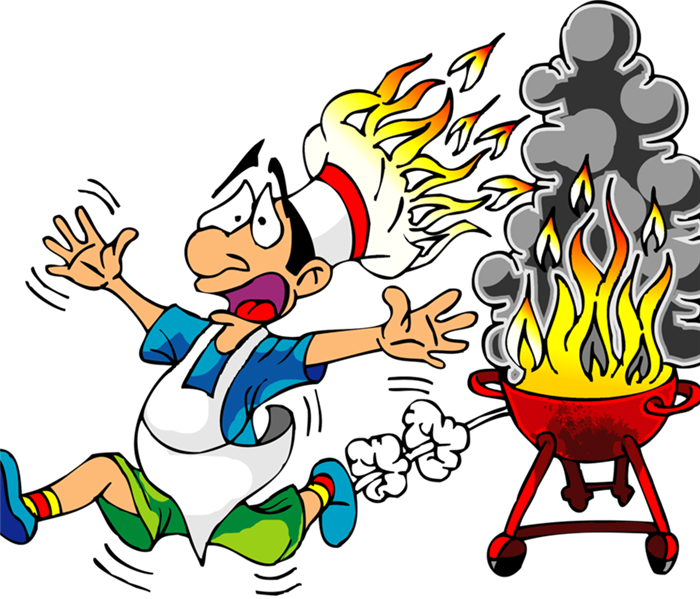 cartoon of man running away from his grill that is on fire