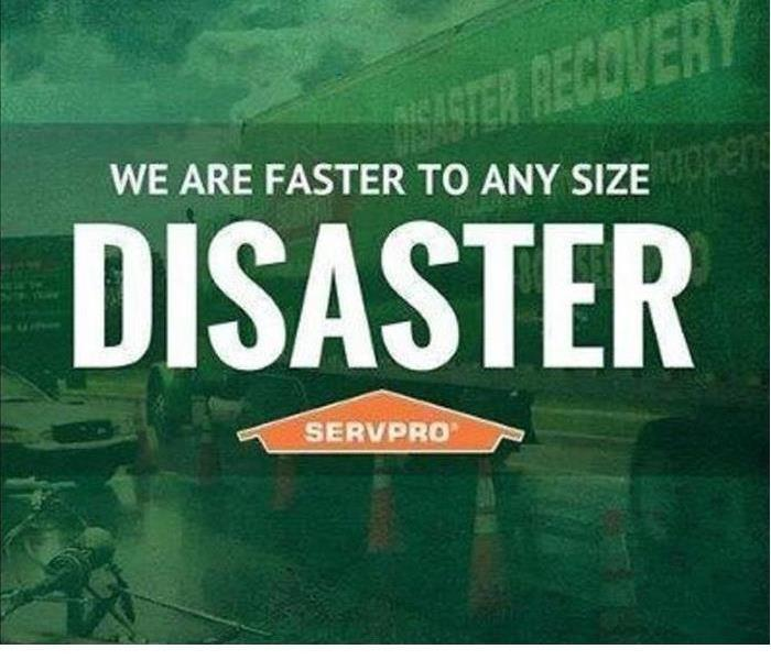 green back ground with the words faster to any size disaster