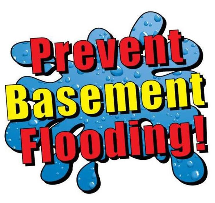 puddle of water with words that says prevent basement flooding