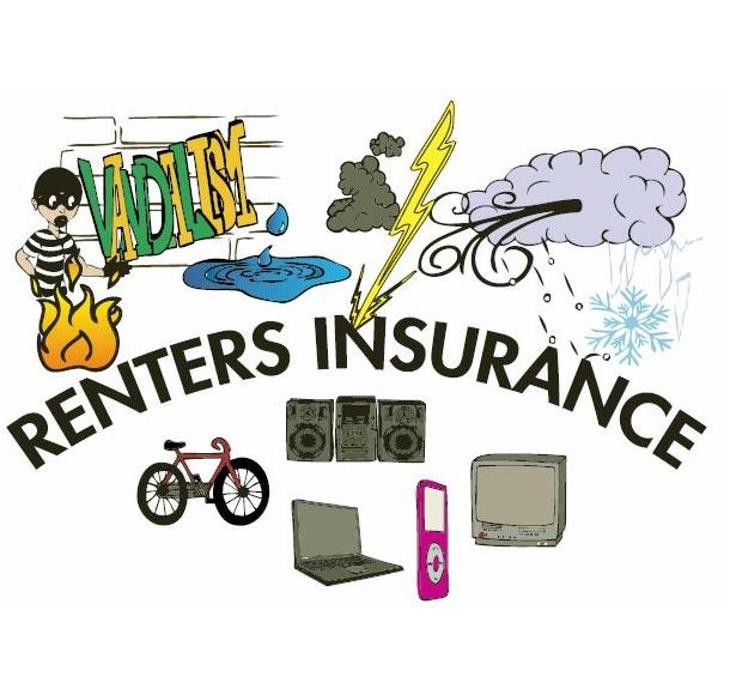 individual pictures of lightning bolt, cloud, tv, ipod, laptop, speakers, bike with the words Renters Insurance