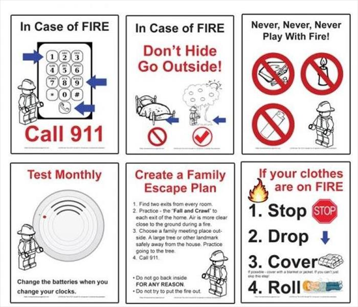 six squares listing tips on fire escape plan