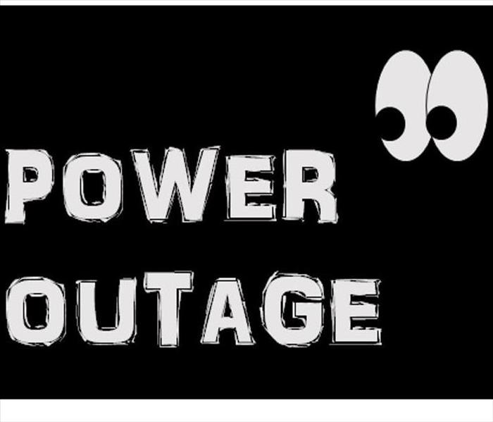 black background with white eyes with white words that says Power Outage